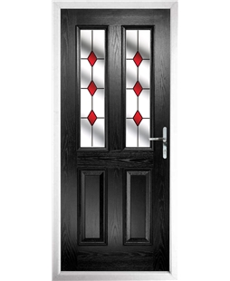 The Cardiff Composite Door in Black with Red Diamonds
