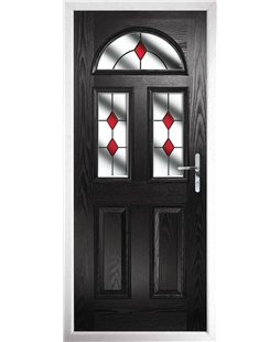 The Glasgow Composite Door in Black with Red Diamonds