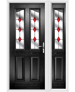 The Birmingham Composite Door in Black with Red Diamonds and matching Side Panel