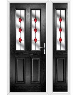 The Cardiff Composite Door in Black with Red Diamonds and matching Side Panel
