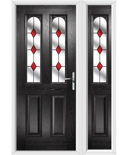 The Aberdeen Composite Door in Black with Red Diamonds and matching Side Panel