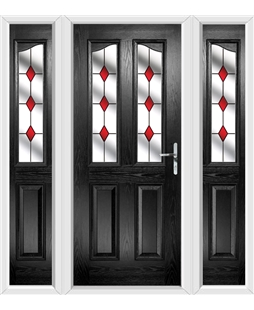 The Birmingham Composite Door in Black with Red Diamonds and matching Side Panels