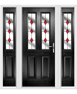 The Cardiff Composite Door in Black with Red Diamonds and matching Side Panels