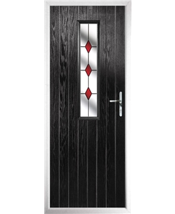The Sheffield Composite Door in Black with Red Diamonds