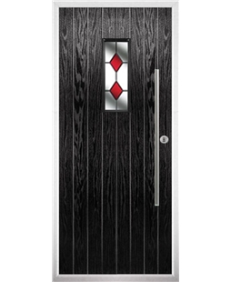 The Zetland Composite Door in Black with Red Diamonds
