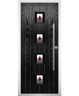 The Leicester Composite Door in Black with Red Diamonds