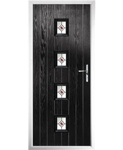 The Uttoxeter Composite Door in Black with Red Fusion Ellipse