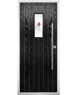 The Zetland Composite Door in Black with Red Murano