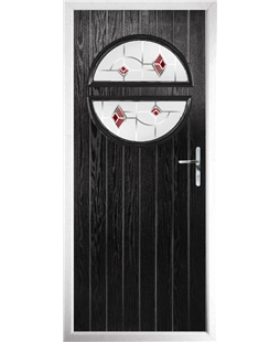The Queensbury Composite Door in Black with Red Murano