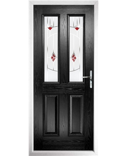 The Cardiff Composite Door in Black with Red Murano