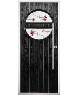 The Xenia Composite Door in Black with Red Murano