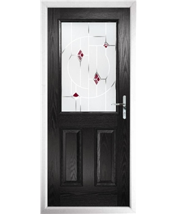 The Farnborough Composite Door in Black with Red Murano
