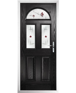 The Glasgow Composite Door in Black with Red Murano