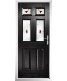 The Oxford Composite Door in Black with Red Murano