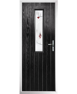 The Sheffield Composite Door in Black with Red Murano