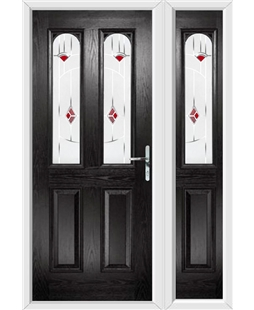 The Aberdeen Composite Door in Black with Red Murano and matching Side Panel