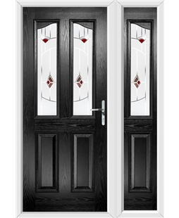 The Birmingham Composite Door in Black with Red Murano and matching Side Panel