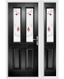 The Cardiff Composite Door in Black with Red Murano and matching Side Panel