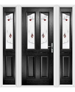 The Birmingham Composite Door in Black with Red Murano and matching Side Panels
