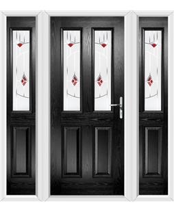 The Cardiff Composite Door in Black with Red Murano and matching Side Panels