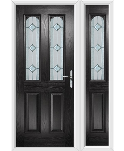 The Aberdeen Composite Door in Black with Simplicity and matching Side Panel