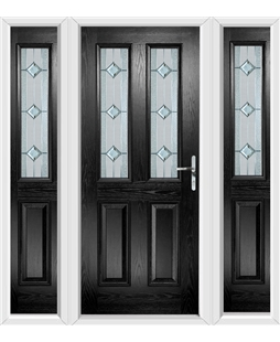 The Cardiff Composite Door in Black with Simplicity and matching Side Panels