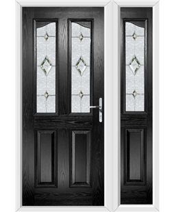 The Birmingham Composite Door in Black with Crystal Diamond and matching Side Panel