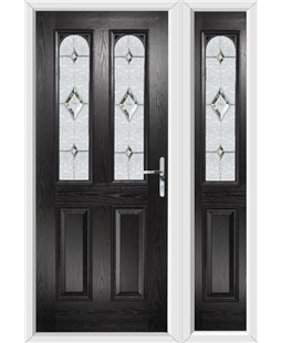 The Aberdeen Composite Door in Black with Crystal Diamond and matching Side Panel