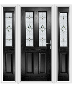 The Cardiff Composite Door in Black with Crystal Diamond and matching Side Panels