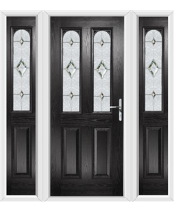 The Aberdeen Composite Door in Black with Crystal Diamond and ...