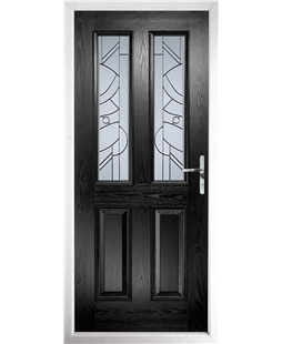 The Cardiff Composite Door in Black with Zinc Art Abstract