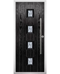 The Leicester Composite Door in Black with Zinc Art Abstract