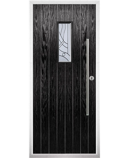 The Zetland Composite Door in Black with Zinc Art Abstract