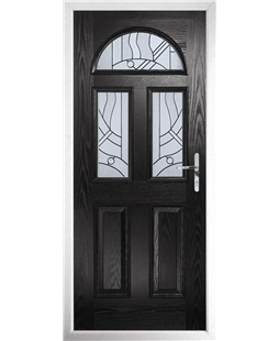 The Glasgow Composite Door in Black with Zinc Art Abstract