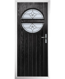 The Queensbury Composite Door in Black with Zinc Art Clarity