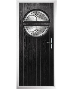 The Queensbury Composite Door in Black with Zinc Art Elegance