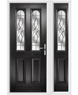 The Aberdeen Composite Door in Black with Zinc Art Elegance and matching Side Panel