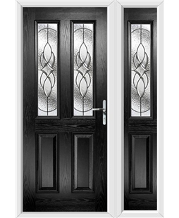 The Cardiff Composite Door in Black with Zinc Art Elegance and matching Side Panel