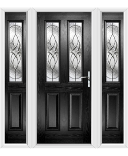The Cardiff Composite Door in Black with Zinc Art Elegance and matching Side Panels