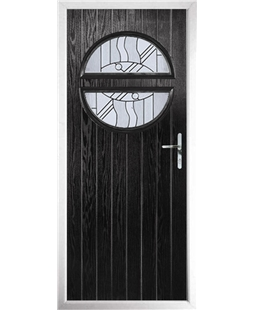 The Queensbury Composite Door in Black with Zinc Art Abstract