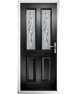 The Cardiff Composite Door in Black with Crystal