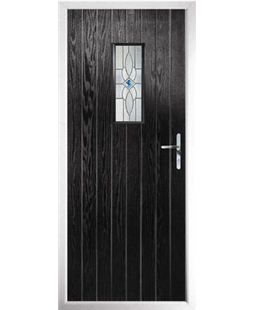 The Taunton Composite Door in Black with Daventry Blue