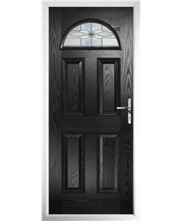 The Derby Composite Door in Black with Green Daventry