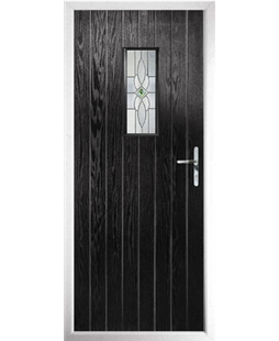 The Taunton Composite Door in Black with Daventry Green