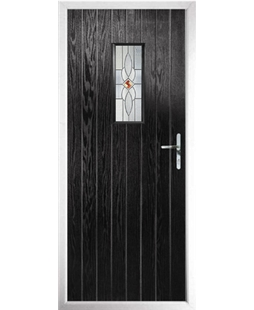 The Taunton Composite Door in Black with Daventry Red