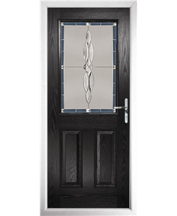 The Farnborough Composite Door in Black with Blue Luxury Crystal