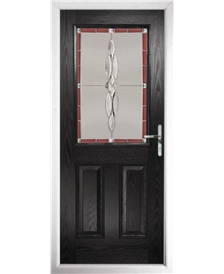 The Farnborough Composite Door in Black with Red Luxury Crystal