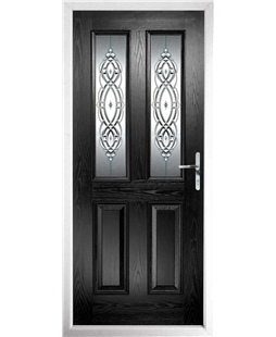 The Cardiff Composite Door in Black with Reflections