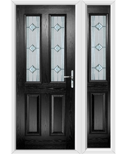 The Cardiff Composite Door in Black with Simplicity and matching Side Panel