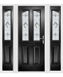 The Birmingham Composite Door in Black with Crystal Diamond and matching Side Panels